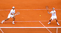 BUENOS AIRES, ARGENTINA, 15 SETEMBRO 2012 - COPA DAVIS -  ARGENTINA X REPUBLICA CHEGA - Os tenistas tos argentinos Eduardo Schwank e Carlos Berlocq durante partida contra os atchecos Tomas Berdych e Radek Stepanek pela Copa Davis em Buenos Aires, na Argentina, neste sabado, 15. (FOTO: JUANI RONCORONI / BRAZIL PHOTO PRESS).