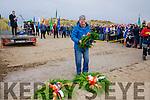 Michael Browne skipper of the Marita Ann laying a wreath at the Sinn Fein 1916 launch at Banna on Saturday last.
