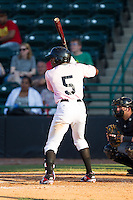 Travis Demeritte (5) of the Hickory Crawdads at bat against the Augusta GreenJackets at L.P. Frans Stadium on May 11, 2014 in Hickory, North Carolina.  The GreenJackets defeated the Crawdads 9-4.  (Brian Westerholt/Four Seam Images)