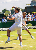 London, England, 6 th July, 2016, Tennis, Wimbledon,  Gentelmen's Senior Invitational Doubles, Jacco Eltingh (NED) and Paul Haarhuis (NED) (R)<br /> Photo: Henk Koster/tennisimages.com