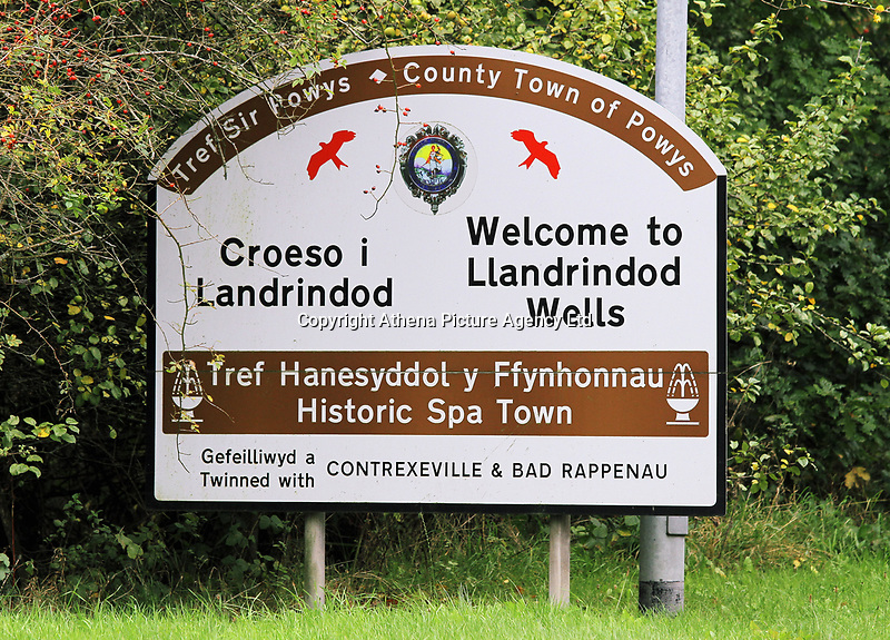 A Welcome to Llandrindod Wells sign in Powys, mid Wales, UK