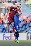 Francisco Portillo of Getafe CF and Dogan Erdogan of Trabzonspor during UEFA Europa League match between Getafe CF and Trabzonspor at Coliseum Alfonso Perez in Getafe, Spain. September 19, 2019. (ALTERPHOTOS/A. Perez Meca)