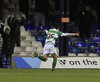Liam Walsh of Yeovil wheels away in celebration during the Sky Bet League 2 match between Luton Town and Yeovil Town at Kenilworth Road, Luton, England on 2 February 2016. Photo by Liam Smith.