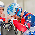 5 December 2014: Semen Pavlichenko, sliding for Russia, is visibly upset after his first run, ending the day with combined 2-run time of 1:53.207 in the Men's Competition at the Viessmann Luge World Cup, at the Olympic Sports Track in Lake Placid, New York, USA. Mandatory Credit: Ed Wolfstein Photo *** RAW (NEF) Image File Available ***