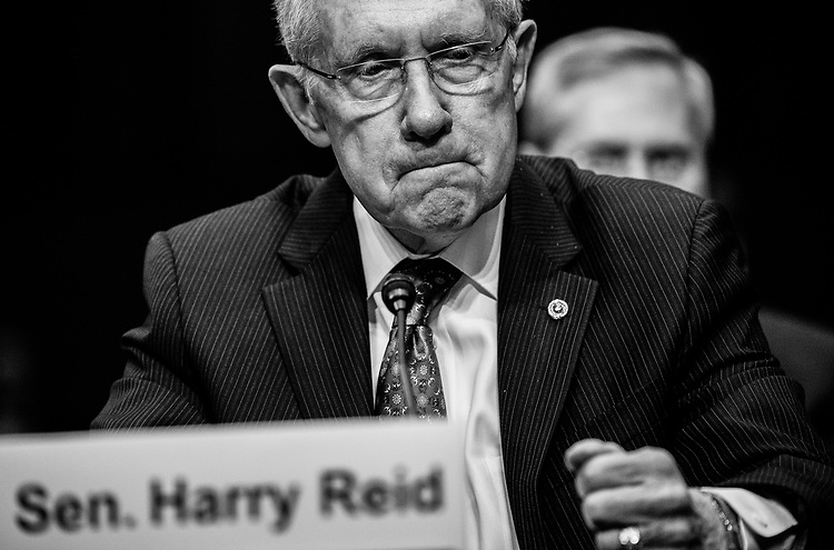 Senate Majority Leader Harry Reid testifies during the Senate Judiciary Committee hearing on campaign finance reform.