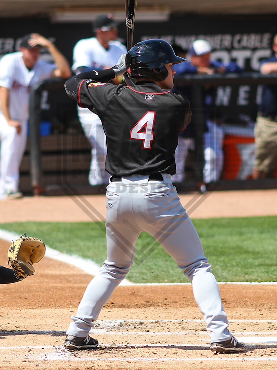 APPLETON - May 2015: Quad Cities River Bandits outfielder Sean McMullen (4) during a game against the Wisconsin Timber Rattlers on May 2nd, 2015 at Fox Cities Stadium in Appleton, Wisconsin.  Quad Cities defeated Wisconsin 5-2.  (Brad Krause/Four Seam Images)