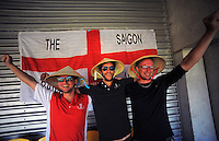 England fans set up camp during the ICC Cricket World Cup one day pool match between the New Zealand Black Caps and England at Wellington Regional Stadium, Wellington, New Zealand on Friday, 20 February 2015. Photo: Dave Lintott / lintottphoto.co.nz
