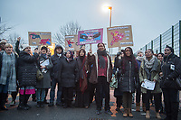 Teachers at Cumberland School in Battersea go on strike againsts plans by the local education authority to turn it into an academy. Supportive parents joined them on the picketline. 9-1-18