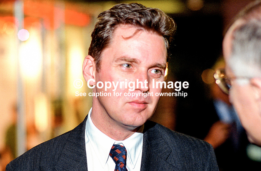 Alan Milburn, MP, UK, Labour Party, 199509109.<br /> <br /> Copyright Image from Victor Patterson, 54 Dorchester Park, <br /> Belfast, UK, BT9 6RJ<br /> <br /> t1: +44 28 9066 1296 (from Rep of Ireland 048 9066 1296)<br /> t2: +44 28 9002 2446 (from Rep of Ireland 048 9002 2446)<br /> m: +44 7802 353836<br /> <br /> e1: victorpatterson@me.com<br /> e2: victorpatterson@gmail.com<br /> www.victorpatterson.com<br /> <br /> Please see my Terms and Conditions of Use at www.victorpatterson.com. It is IMPORTANT that you familiarise yourself with them.<br /> <br /> Images used on the Internet must be visibly watermarked i.e. &copy; Victor Patterson<br /> within the body of the image and copyright metadata must not be deleted. Images <br /> used on the Internet have a size restriction of 4kbs and will be chargeable at current<br />  NUJ rates unless agreed otherwise.<br /> <br /> This image is only available for the use of the download recipient i.e. television station, newspaper, magazine, book publisher, etc, and must not be passed on to any third <br /> party. It is also downloaded on condition that each and every usage is notified within 7 days to victorpatterson@me.com<br /> <br /> The right of Victor Patterson to be identified as the author is asserted in accordance with The Copyright Designs And Patents Act (1988). All moral rights are asserted.