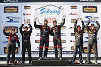 2017 IMSA Continental Tire SportsCar Challenge<br /> Visit Sebring 120<br /> Sebring International Raceway, Sebring, FL USA<br /> Friday 17 March 2017<br /> 44, Nissan, Altima, ST, Sarah Cattaneo, Owen Trinkler, 17, Porsche, Porsche Cayman, ST, Spencer Pumpelly, Nick Galante, 56, Porsche, Porsche Cayman, ST, Jeff Mosing, Eric Foss, podium<br /> World Copyright: MIchael L. Levitt<br /> LAT Images<br /> ref: Digital Image levitt_seb_0317-15496