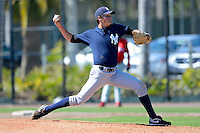 New York Yankees pitcher Charles Haslup #46 during a minor league Spring Training game against the Philadelphia Phillies at Carpenter Complex on March 21, 2013 in Clearwater, Florida.  (Mike Janes/Four Seam Images)