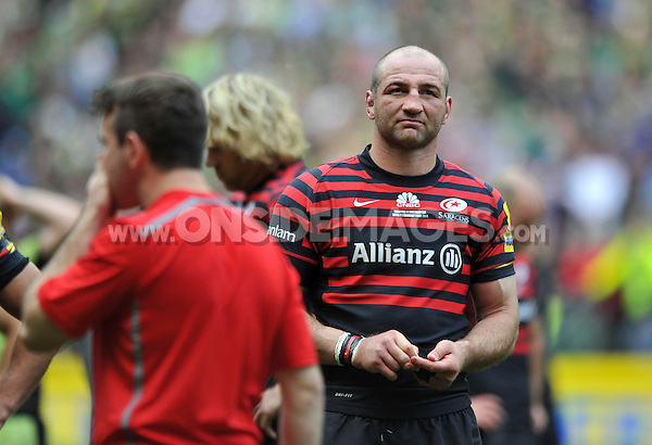 Saracens captain Steve Borthwick looks dejected after the match. Aviva Premiership Final, between Saracens and Northampton Saints on May 31, 2014 at Twickenham Stadium in London, England. Photo by: Patrick Khachfe / JMP