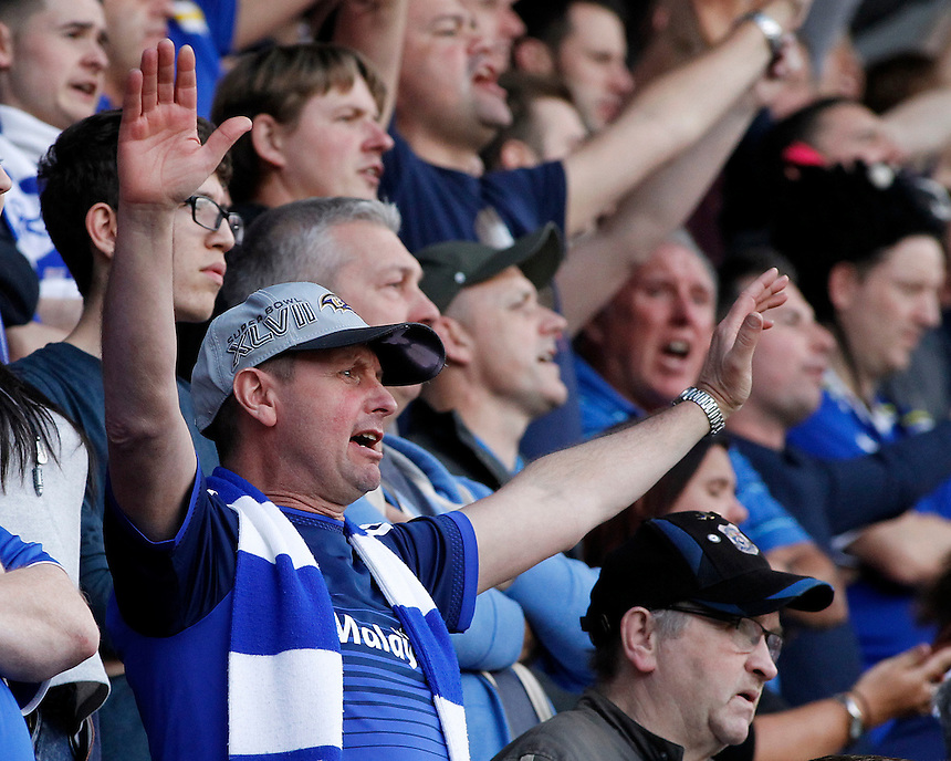 Cardiff City fans during the game<br /> <br /> Photographer David Shipman/CameraSport<br /> <br /> Football - The Football League Sky Bet Championship - Rotherham United v Cardiff City - Saturday 19th September 2015 - AESSEAL New York Stadium - Rotherham<br /> <br /> &copy; CameraSport - 43 Linden Ave. Countesthorpe. Leicester. England. LE8 5PG - Tel: +44 (0) 116 277 4147 - admin@camerasport.com - www.camerasport.com