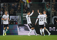 celebrate the goal, Torjubel zum 2:0 Leon Goretzka (Deutschland, Germany) mit Matthias Ginter (Deutschland Germany), Toni Kroos (Deutschland Germany), Ilkay Gündogan (Deutschland, Germany) - 16.11.2019: Deutschland vs. Weißrussland, Borussia Park Mönchengladbach, EM-Qualifikation DISCLAIMER: DFB regulations prohibit any use of photographs as image sequences and/or quasi-video.