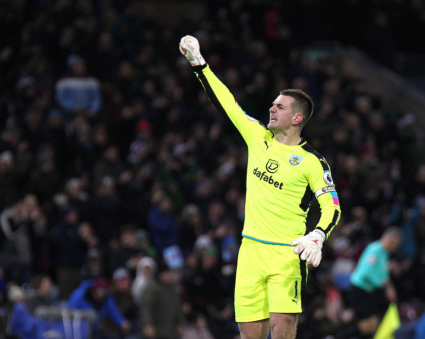 Burnley's Thomas Heaton celebrates at the final whistle<br /> <br /> Photographer Rich Linley/CameraSport<br /> <br /> The Premier League - Burnley v Middlesbrough - Monday 26th December 2016 - Turf Moor - Burnley<br /> <br /> World Copyright &copy; 2016 CameraSport. All rights reserved. 43 Linden Ave. Countesthorpe. Leicester. England. LE8 5PG - Tel: +44 (0) 116 277 4147 - admin@camerasport.com - www.camerasport.com