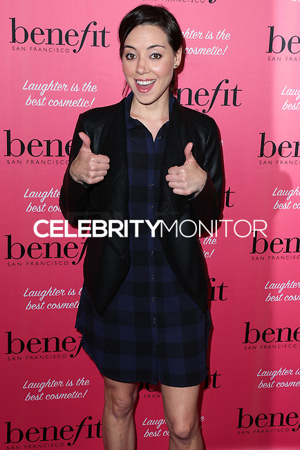 HOLLYWOOD, LOS ANGELES, CA, USA - SEPTEMBER 26: Aubrey Plaza arrives at the Benefit Cosmetics: Wing Woman Weekend Kick-Off Party held at the Benefit Tattoo Parlor on September 26, 2014 in Hollywood, Los Angeles, California, United States. (Photo by Xavier Collin/Celebrity Monitor)