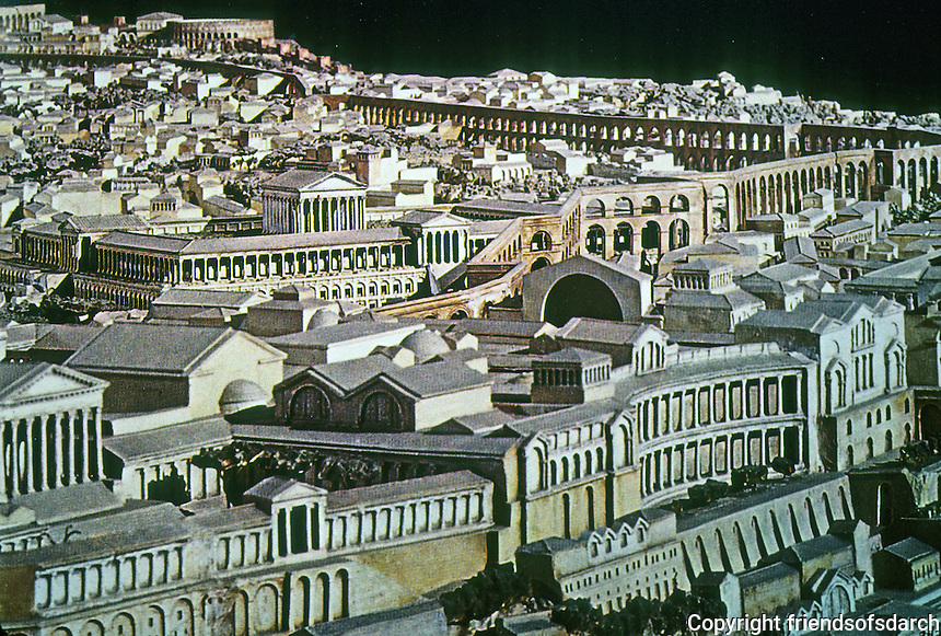 Italy: Rome--Model of The Palatine, 4th C. A. D. Lower right; The Exedra of the Domus Augustana; behind it, unseen, The Atrium with Fountain.  Photo '84.