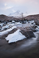 Sgurr Nan Gillean emerges from winter storm, Black Cuillins, Isle of Skye, Scotland