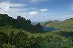 View on  Hatiheu Bay and its volcanic peaks . Island of Nuku Hiva<br /> Vue sur la baie d'Hatiheu et ses pics volcaniques.  Ile de  Nuku Hiva