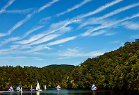 Sailing in the lake at Camp Raven Knob Scout Reservation, one of the largest Boy Scout camps in the United States. Camp Raven Knob is located within Boy Scouts of America's Old Hickory Council in Mt. Airy, North Carolina. Troops from across the US attend the camp's one-week residential boys' summer programs, which offer instruction on more than 40 merit badges, adventure programs and new Scout orientation.