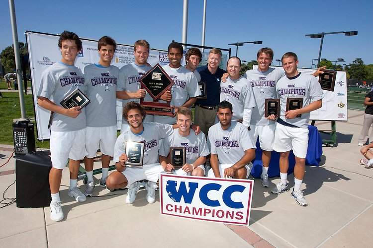 April 23, 2011; San Diego, CA, USA; San Diego Toreros pose for a photo with the championship trophy during the championship round of the WCC Tennis Championships against the Santa Clara Broncos at the Barnes Tennis Center.