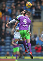 Blackburn Rovers Danny Graham jumps with Bristol City's Adam Webster<br /> <br /> Photographer Mick Walker/CameraSport<br /> <br /> The EFL Sky Bet Championship - Blackburn Rovers v Bristol City - Saturday 9th February 2019 - Ewood Park - Blackburn<br /> <br /> World Copyright &copy; 2019 CameraSport. All rights reserved. 43 Linden Ave. Countesthorpe. Leicester. England. LE8 5PG - Tel: +44 (0) 116 277 4147 - admin@camerasport.com - www.camerasport.com