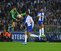 27th October 2019; Dragao Stadium, Porto, Portugal; Portuguese Championship 2019/2020, FC Porto versus Famalicao; Jesús Corona of FC Porto watches as the goalkeeper Alex Centelles of Famalicao collects the through ball