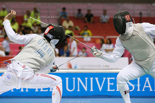 Riki Oishi (JPN), <br /> JULY 6, 2015 - Fencing : <br /> The 28th Summer Universiade 2015 Gwangju Men's Individual Foil Preliminary at Kimdaejung Convention Center in Gwangju, South Korea. (Photo by Sho Tamura/AFLO SPORT)