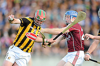 28th June 2014; Kilkenny's Eoin Larkin and Damien Hayes of Galway. GAA Hurling Senior Championship Semi-Final replay Kilkenny v Galway, O'Connor Park, Tullamore. Picture credit: Tommy Grealy/actionshots.ie.