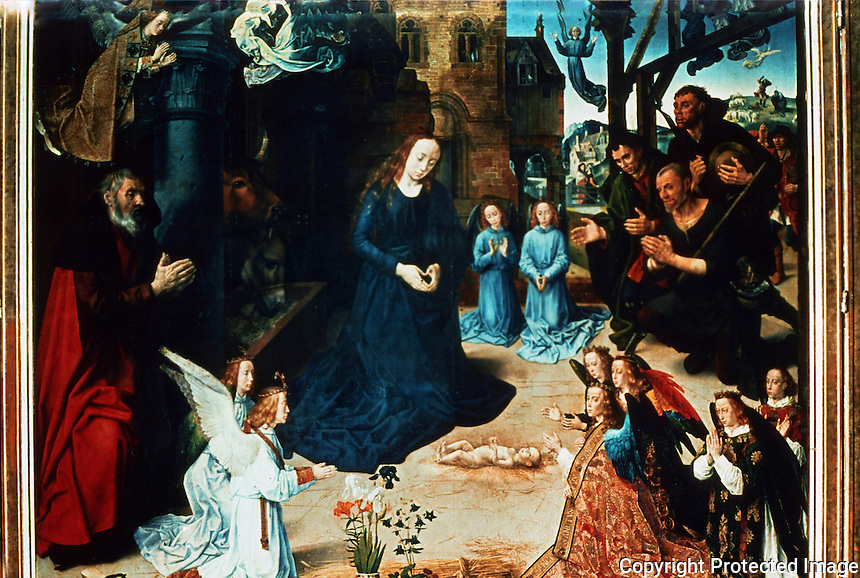 Renaissance Art:  Hugo Van Der Goes--Adoration of the Shepherds, center section of a triptych.  Galleria Uffizi.