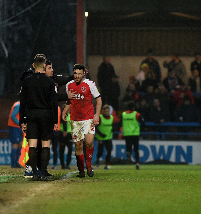 Fleetwood Town's Lewis Coyle leaving the pitch after recieving a red card<br /> <br /> Photographer Hannah Fountain/CameraSport<br /> <br /> The EFL Sky Bet League One - Rochdale v Fleetwood Town - Saturday 19 January 2019 - Spotland Stadium - Rochdale<br /> <br /> World Copyright &copy; 2019 CameraSport. All rights reserved. 43 Linden Ave. Countesthorpe. Leicester. England. LE8 5PG - Tel: +44 (0) 116 277 4147 - admin@camerasport.com - www.camerasport.com