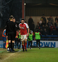 Fleetwood Town's Lewis Coyle leaving the pitch after recieving a red card<br /> <br /> Photographer Hannah Fountain/CameraSport<br /> <br /> The EFL Sky Bet League One - Rochdale v Fleetwood Town - Saturday 19 January 2019 - Spotland Stadium - Rochdale<br /> <br /> World Copyright © 2019 CameraSport. All rights reserved. 43 Linden Ave. Countesthorpe. Leicester. England. LE8 5PG - Tel: +44 (0) 116 277 4147 - admin@camerasport.com - www.camerasport.com