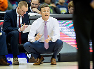 Washington, DC - MAR 7, 2018: Massachusetts Minutemen head coach Matt McCall on the sideline during game between La Salle and UMass during first round action of the Atlantic 10 Basketball Tournament at the Capital One Arena in Washington, DC. (Photo by Phil Peters/Media Images International)