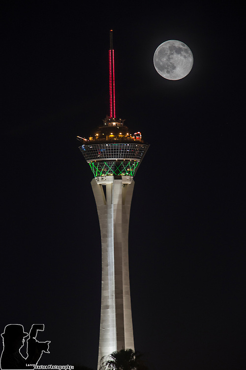 Super Monn over Las Vegas, July 12th 2014 , Double Exposure in camera