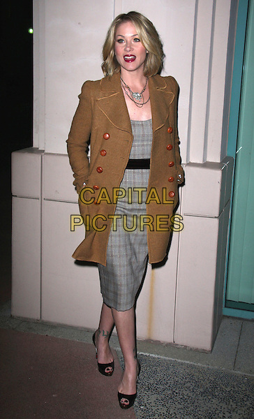 "CHRISTINA APPLEGATE .Academy Of Television Arts and Sciences Presents An Evening With ""Samantha Who?"" held at the Leonard H. Goldenson Theatre, North Hollywood, California, USA, 12th February 2009. .full length brown tweed coat grey gray plaid tartan checked dress black peep toe shoes tattoos Christian Louboutin.CAP/ADM/CH.©Charles Harris/AdMedia/Capital Pictures"