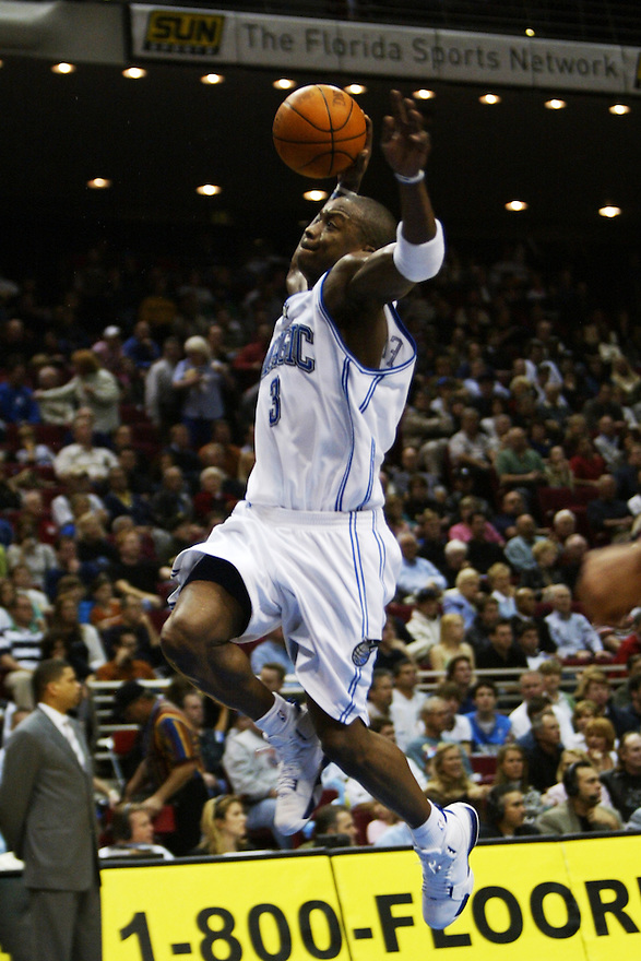 29 January 25: Steve Francis (#3,Guard) of the Orlando Magic going for a layup, during the 108-101victory over the Washington Wizards at the TD Waterhouse Center in Orlando, Florida.Mandatory Credit: Rob Holt/ICON SMI