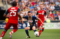 Jack McInerney (9) of the Philadelphia Union. The Philadelphia Union defeated Toronto FC 3-0 during a Major League Soccer (MLS) match at PPL Park in Chester, PA, on July 8, 2012.