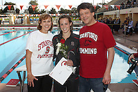 STANFORD, CA - FEBRUARY 13:  Meredith Ayres of the Stanford Cardinal on Senior Day during Stanford's 167-131 win over California at the Avery Aquatic Center on February 13, 2010 in Stanford, California.