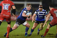 Jacques van Rooyen of Bath Rugby in possession. Gallagher Premiership match, between Bath Rugby and Sale Sharks on December 2, 2018 at the Recreation Ground in Bath, England. Photo by: Patrick Khachfe / Onside Images