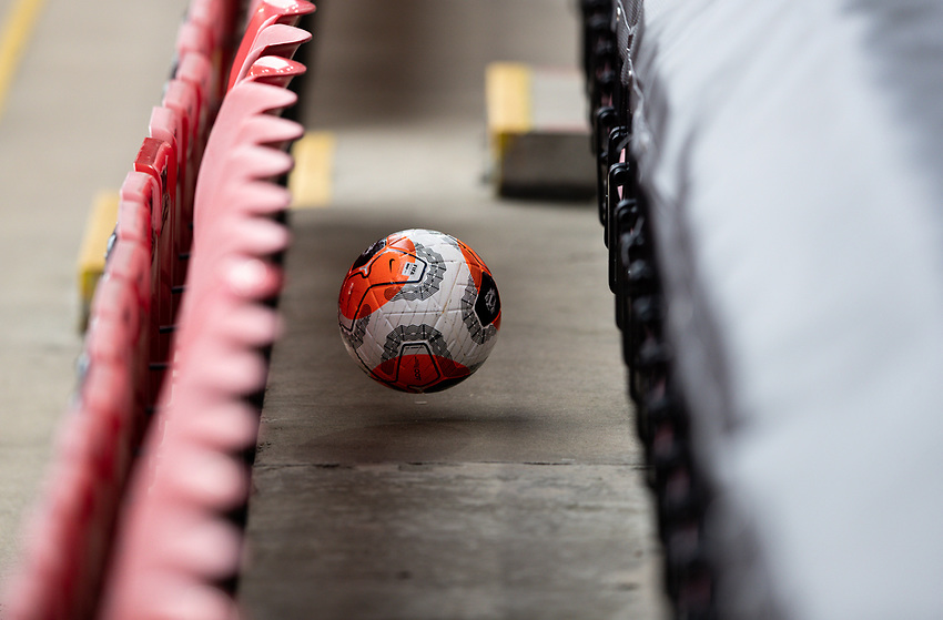 A football is kicked into the stands<br /> <br /> Photographer Alex Dodd/CameraSport<br /> <br /> The Premier League - Sheffield United v Chelsea - Saturday 11th July 2020 - Bramall Lane - Sheffield<br /> <br /> World Copyright © 2020 CameraSport. All rights reserved. 43 Linden Ave. Countesthorpe. Leicester. England. LE8 5PG - Tel: +44 (0) 116 277 4147 - admin@camerasport.com - www.camerasport.com