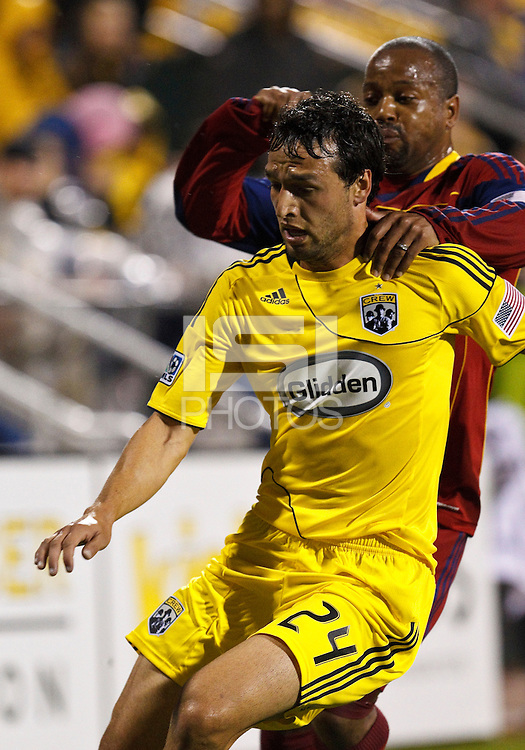 24 APRIL 2010:  Jed Zayner of the Columbus Crew (24) and Real Salt Lakes' Andy Williams (77) during the Real Salt Lake at Columbus Crew MLS soccer game in Columbus, Ohio. Columbus Crew defeated RSL 1-0 on April 24, 2010.