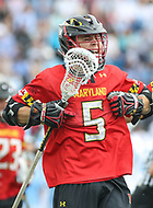 Baltimore, MD - April 28, 2018: Maryland Terrapins Will Snider (5) celebrates scoring the game winning goal during game between John Hopkins and Maryland at  Homewood Field in Baltimore, MD.  (Photo by Elliott Brown/Media Images International)