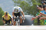 Primoz Roglic (SLO) Team Jumbo-Visma follows World Champion Alejandro Valverde (ESP) Movistar Team attack on the final climb during Stage 7 of La Vuelta 2019 running 183.2km from Onda to Mas de la Costa, Spain. 30th August 2019.<br /> Picture: Luis Angel Gomez/Photogomezsport | Cyclefile<br /> <br /> All photos usage must carry mandatory copyright credit (© Cyclefile | Luis Angel Gomez/Photogomezsport)
