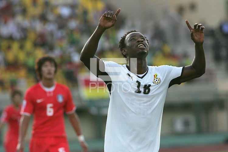 Ghana's Ransford Osei (18) celebrates after scoring a goal against South Korea during the FIFA Under 20 World Cup Quarter-final matchat the Mubarak Stadium  in Suez, Egypt, on October 09, 2009. Ghana won 3-2.