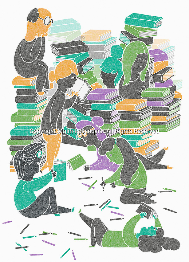 Lots of people enjoying reading and writing