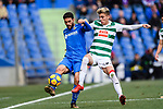 Ivan Alejo of SD Eibar (R) in action against Angel Luis Diaz of Getafe CF (L) during the La Liga 2017-18 match between Getafe CF and SD Eibar at Coliseum Alfonso Perez Stadium on 09 December 2017 in Getafe, Spain. Photo by Diego Souto / Power Sport Images