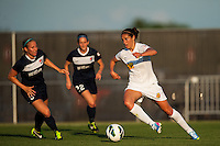 Western New York Flash midfielder Carli Lloyd (10) is marked by Sky Blue FC defender Kendall Johnson (5). The Western New York Flash defeated Sky Blue FC 3-0 during a National Women's Soccer League (NWSL) match at Yurcak Field in Piscataway, NJ, on June 8, 2013.
