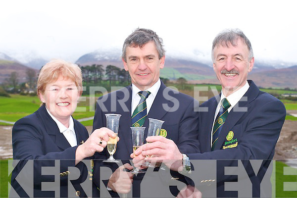 DRIVE IN: Celebrating the captain's drive in Beaufort Golf club on Sunday morning was l-r: Josephine O'Shea (Lady Captain), Jerry O'Connell (President) and Johnny Doolan (Captain)..   Copyright Kerry's Eye 2008