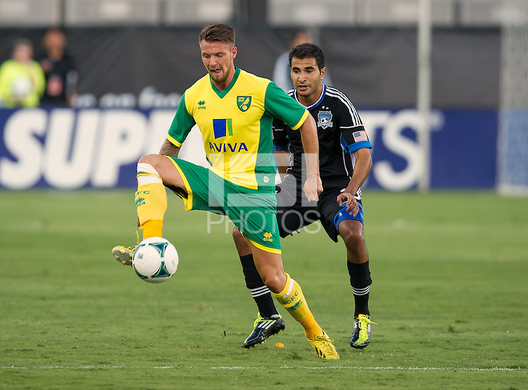 SANTA CLARA, CA - Saturday July 20, 2013:  Norwich City defender Anthony Pilkington (12) during the San Jose Earthquakes vs Norwich City F.C. Canaries match in Buck Shaw Stadium in Santa Clara, CA.