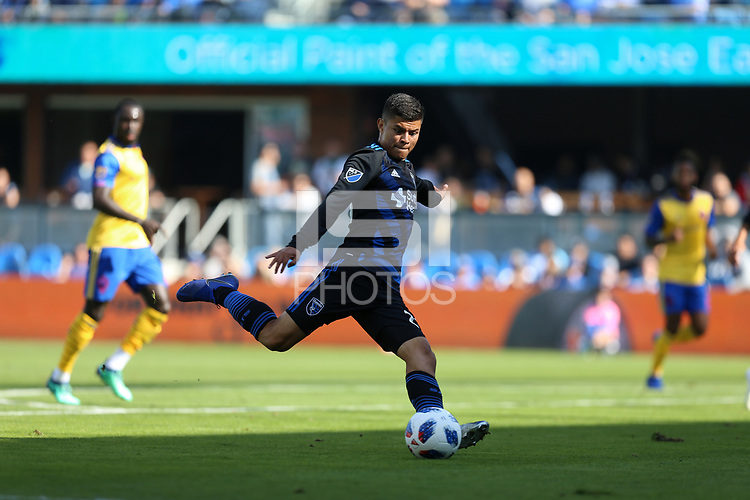 San Jose, CA - Sunday October 21, 2018: Nick Lima during a Major League Soccer (MLS) match between the San Jose Earthquakes and the Colorado Rapids at Avaya Stadium.